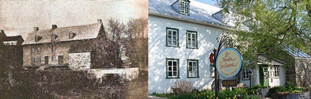 Moulin à farine datant de 1720 (gauche) et Moulin Saint-Laurent aujourd'hui (droite)