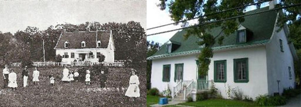 Manoir des Seigneuresses Drapeau (gauche) et Maison des Gosselin en 2000 (à droite)