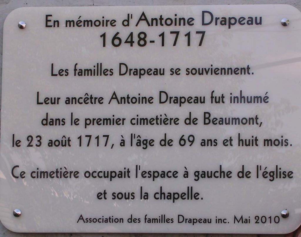 Plaque en mémoire d'Antoine Drapeau à l'Île d'Orléans installée en 2010