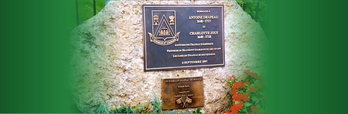 Plaque d'Antoine Drapeau - Ancêtre des Drapeau