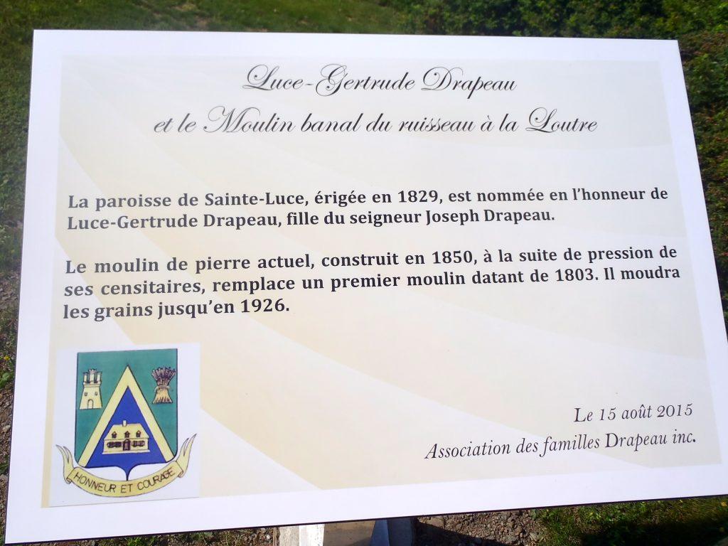 Plaque du Moulin banal - Ste-Luce - 2015