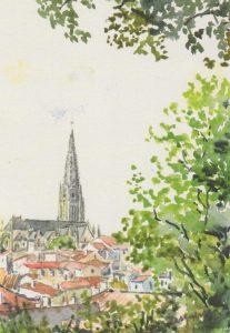 Aquarelle de Pierre Pasquereau | Église Notre-Dame - Fontenay-le-Comte