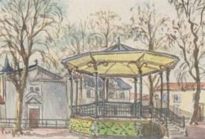 Kiosque à musique-Fontenay-le-compte-Aquarelle de Pierre Pasquereau.
